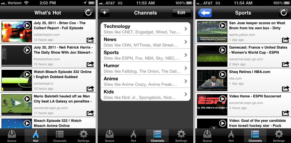 Skyfire's VideoQ app includes lists of the most watched Flash video content
