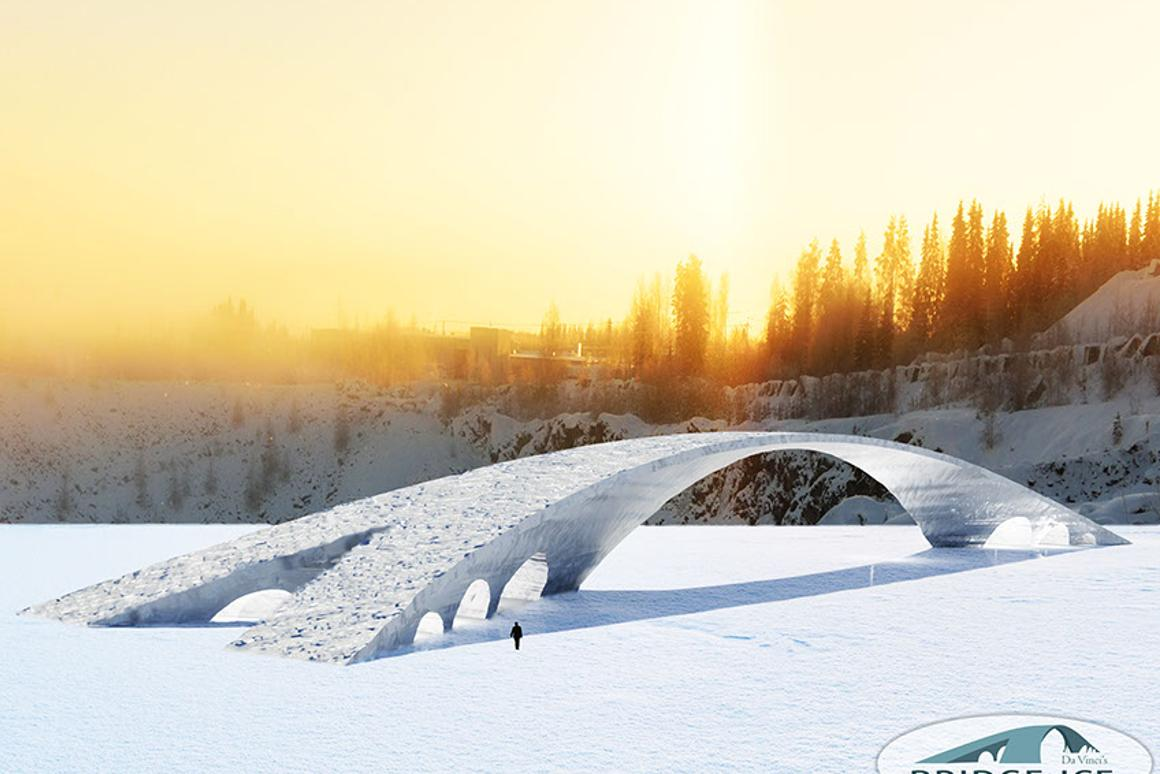 """The da Vinci Bridge in Ice will be built using a mixture of ice reinforced with wood or paper fibers, known as """"pykrete"""""""