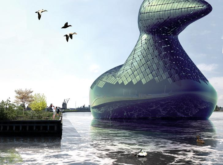 The giant floating Energy Duck concept by artists Hareth Pochee, Adam Khan, Louis Leger and Patrick Fryer