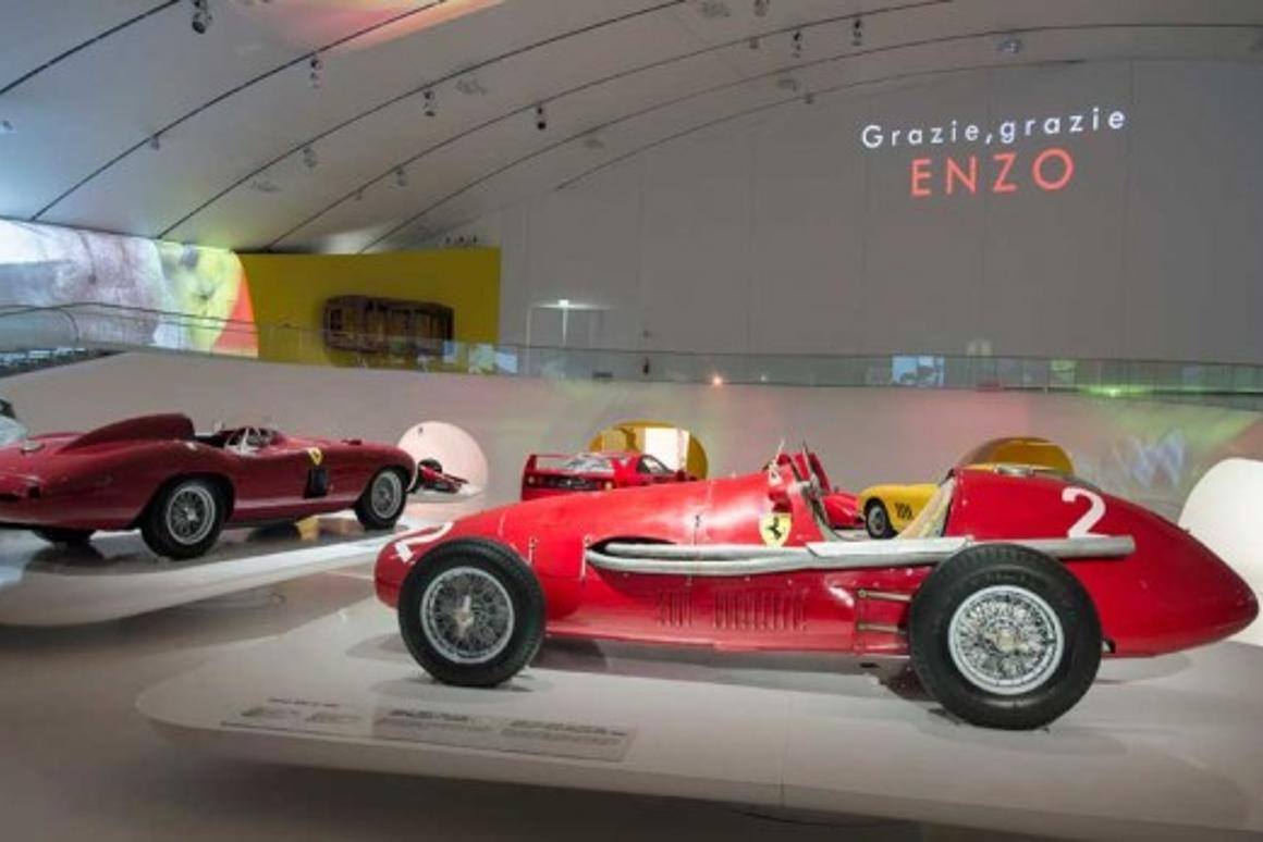 Specially designed platforms, featuring key vehicle information and details and vintage Ferrari's sit on raised podiums (Photo: Museo Casa Enzo Ferrari)