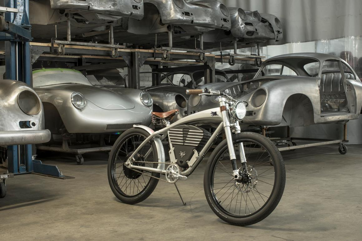 The Emory Tracker Outlaw Vintage in a warehouse full of Porsche 356 shells