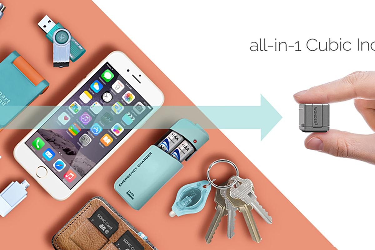 The WonderCube is a versatile keychain accessory that aims to provide emergency charging, storage, and much more