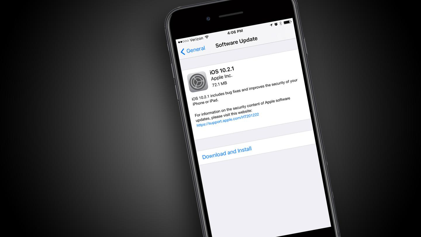 Today's iOS10.2.1 update isn't one to delay downloading