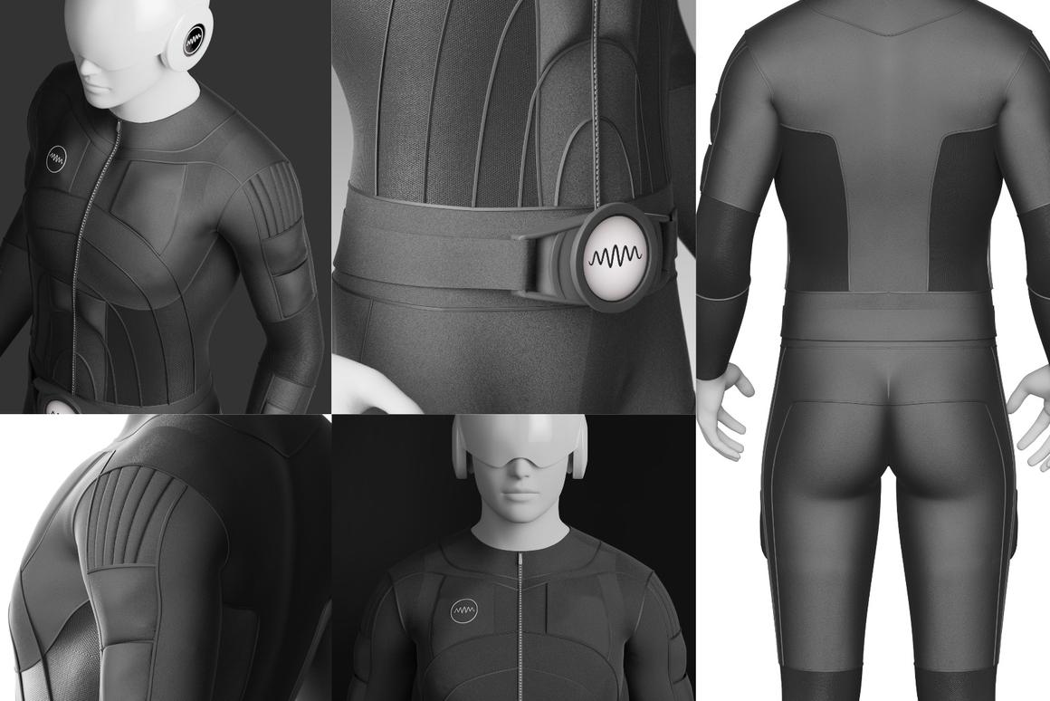 Multiple images of the Teslasuit full-body haptic virtual reality suit
