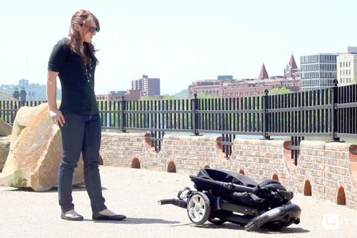 The Origami is a stroller that automatically folds itself up, with the push of a button