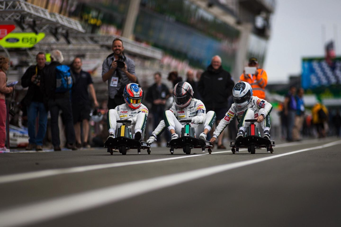"""Aston Martin drivers do a little """"warm up""""at Le Mans"""