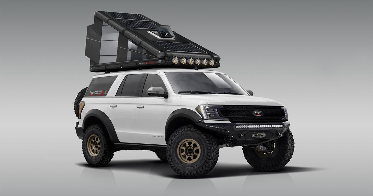 Hard-sided carbon fiber roof-top camper has solar power and heat