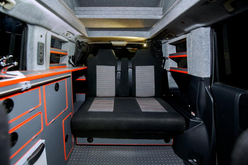 The D:5 Terrain includes a two-seat folding bench/bed, kitchen block, pop-up roof bed and plenty of storage