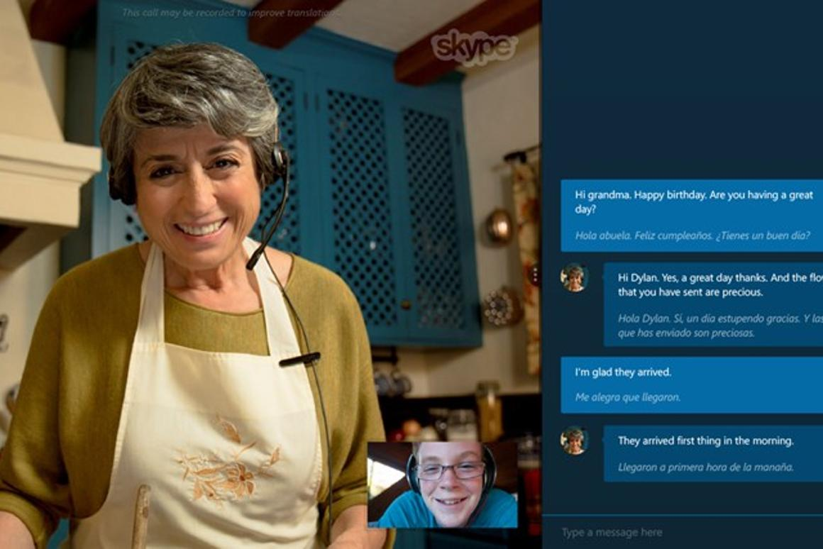 Skype Translator lets two people who speak different languages have a conversation, with a little bit of lag in between each lump of speech