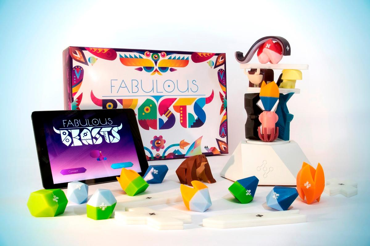 Fabulous Beasts: A set of oddly-shaped stacking pieces, a smart platform and a tablet app combine for an online/offline game experience