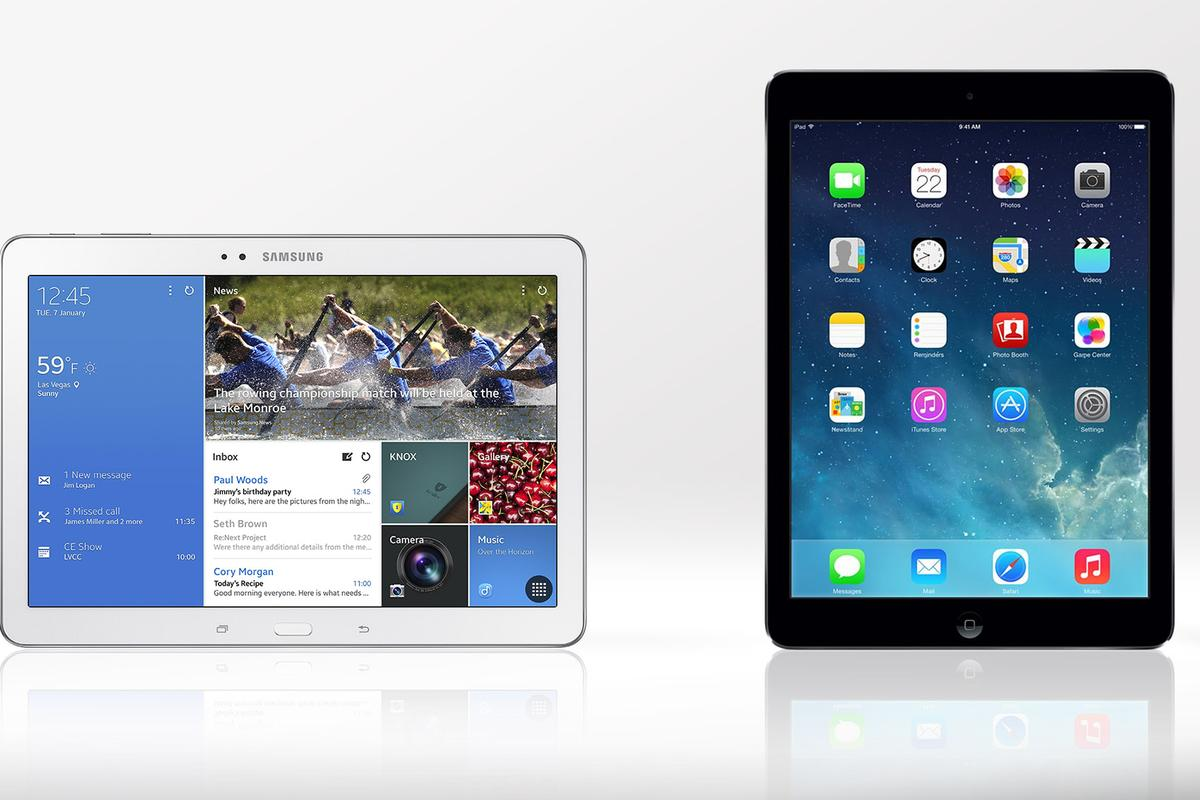 Gizmag compares the features and specs of the Samsung Galaxy TabPRO (10.1) and the Apple iPad Air