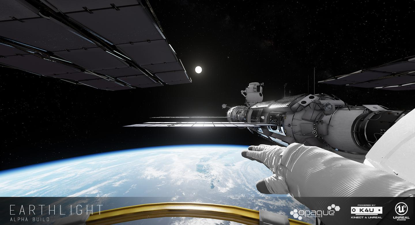 Opaque Multimedia's Earthlight lets you explore the outside of the International Space Station through an Oculus Rift headset, with Microsoft Kinect 2 motion tracking of your hands and arms