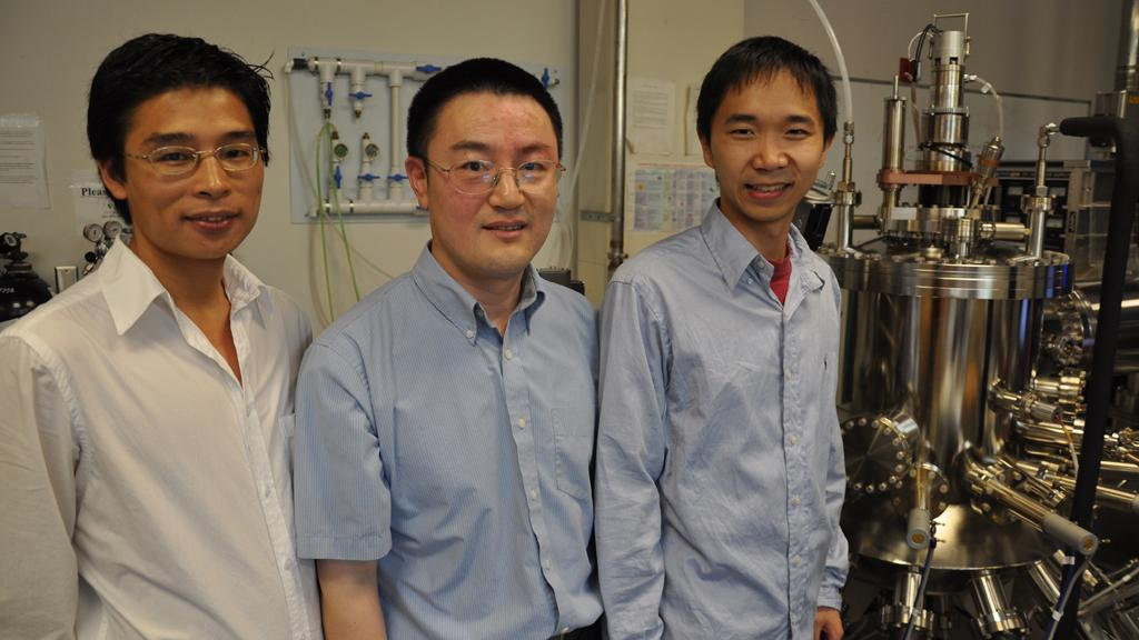 Graduate students Guoping Wang (L), Sheng Chu (R) and professor of electrical engineering Jianlin Liu (C) were part of the team that discovered the new semiconductor nanowire laser technology