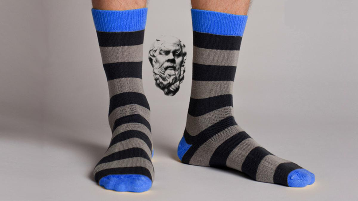 Socrates socks employ Kevlar-carbon matrix material and are designed to never get a hole, droop or wear out