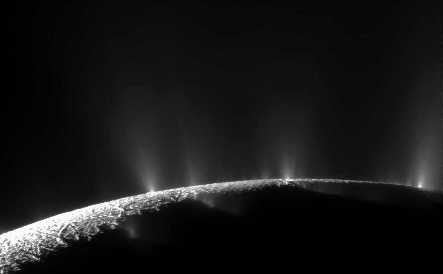 A mosaic of Enceladus' tiger-stripe geysers, comprised from images taken by the Cassini spacecraft during a 2009 flyby