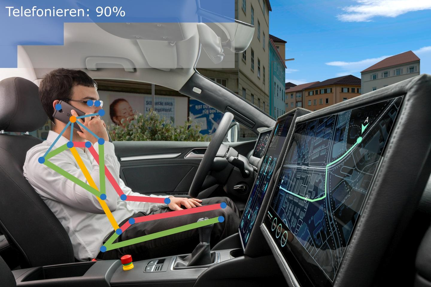 Existing systems are already able to determine if the driver is getting tired, but the Fraunhofer system can actually tell what they're up to – such as if they're talking on their smartphone