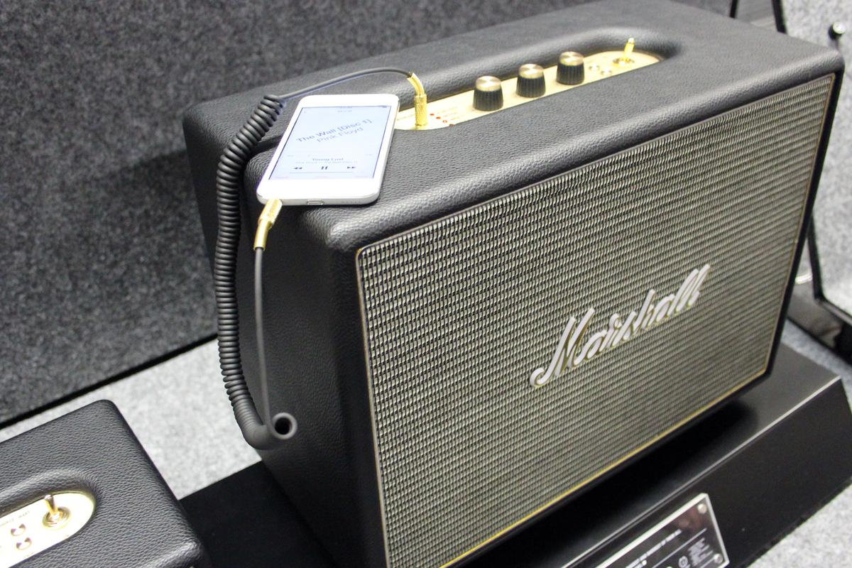 The Woburn features vintage-inspired grille cloth with the immediately recognizable Marshall logo positioned dead center