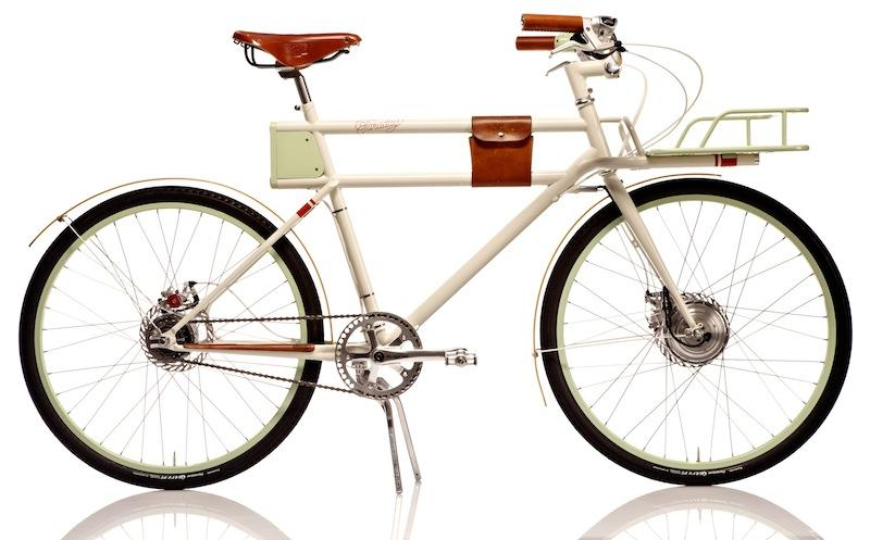 The Faraday Porteur's batteries allow approximately 10-15 miles of full pedal-assist riding