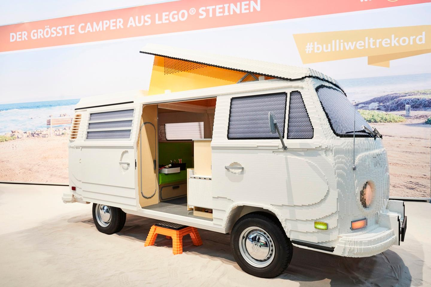 Two Lego builders spent six weeks building the van up ahead of its public debut this week