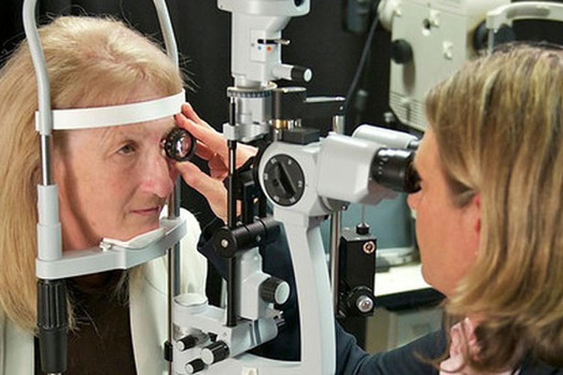 "Dianne Ashworth testing her new retinal implant: ""All of a sudden I could see a flash of light. It was amazing"" (Image: BVA)"
