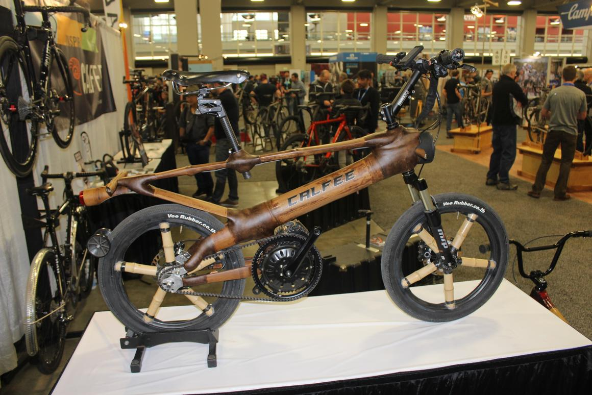 The Calfee bamboo e-bike features a spring-like element in the top of its frame