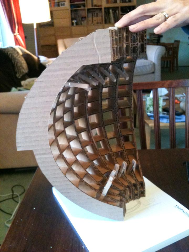 Initial models of the Tsunamiball constructed with cardboard (Photo: Chris Robinson)