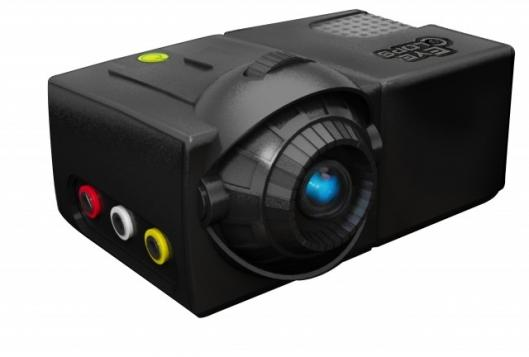 The EyeClops Mini Projector uses LED illumination to project a 70 inch screen from almost any multi-media device. The battery-powered (or mains) projector has built-in speakers and a recommended retail of USD100.