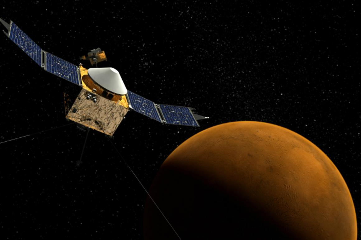 Artist's impression of NASA's MAVEN spacecraft approaching Mars (Image: NASA/Goddard Space Flight Center)