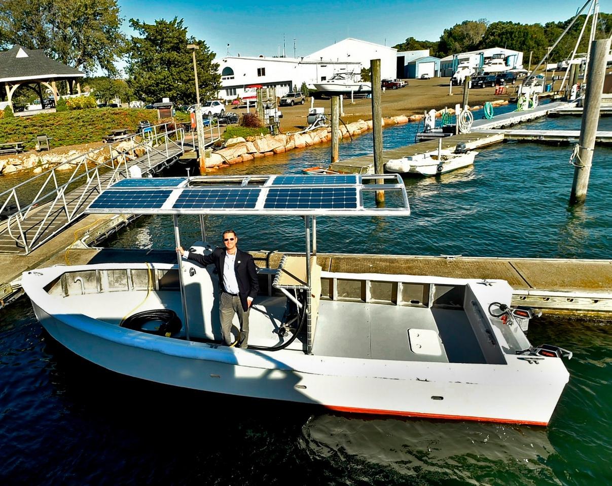 The solar-electric pump-out boat was developed by the East Shore District Health Department and Yale University's School of Public Health