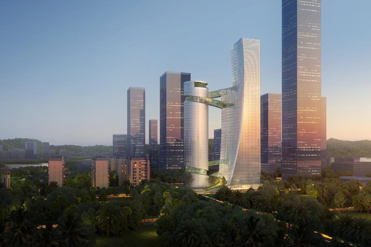 iCarbonX Headquarters' skyscrapers will rise to heights of 150 m (492 ft) and 200 m (656 ft)-tall