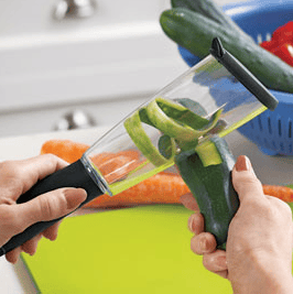 The Veggie-Peel traps and stores messy peel for easy disposal