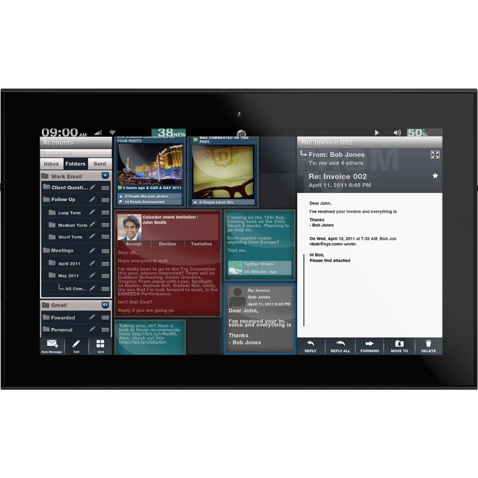 The Grid10 tablet features a 10.1-inch touchscreen (with muti-touch) running at 1366 x 768 pixels resolution