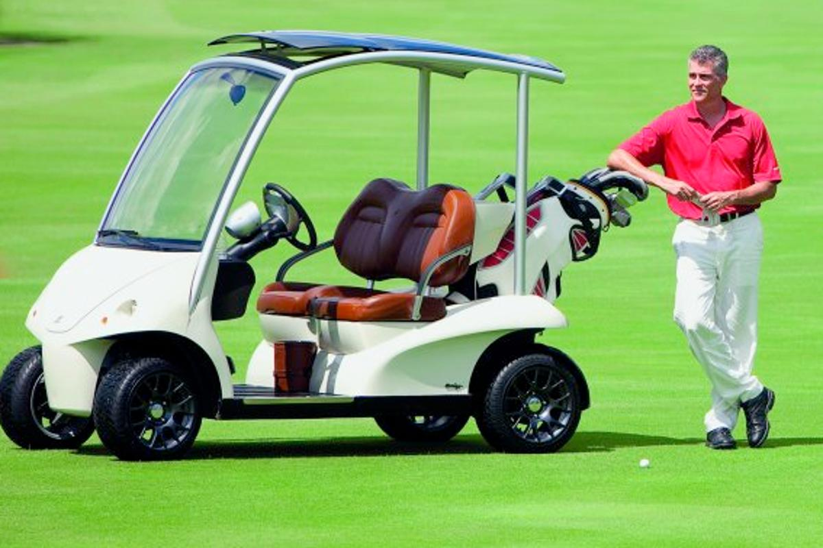 Not for hacks ... the Garia Soleil de Minuit golf car has many luxury marque features