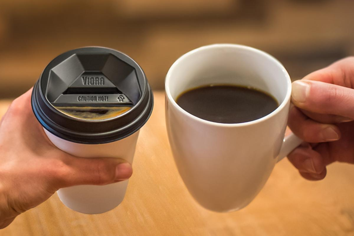 Viora Lid is a new type of takeaway coffee lid designed to mimic the experience of drinking from a ceramic cup