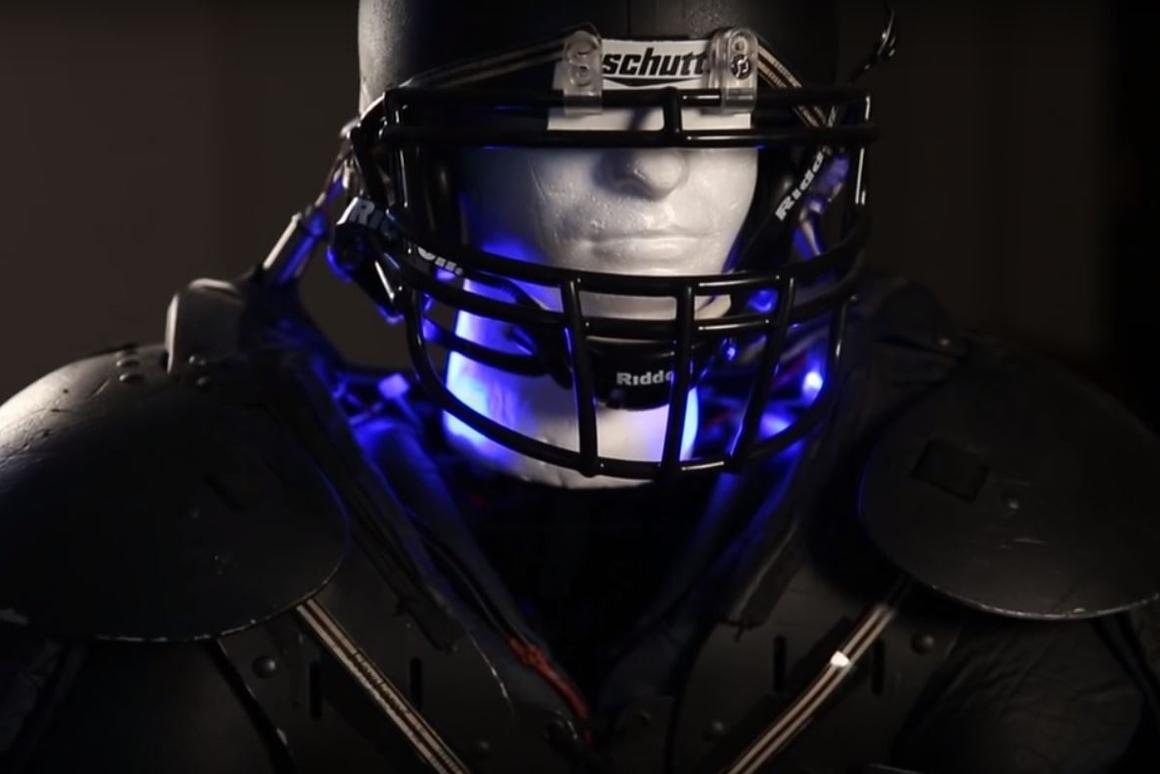 The novel helmet and shoulder pads system weighs only five pounds