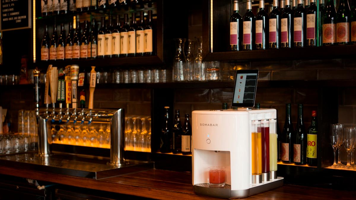 The Somabar allows thirsty users to select craft cocktails from a mobile app and have them in their hands in seconds