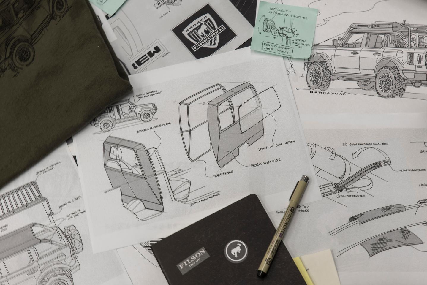 Bronco Wildland Fire Rig design sketches