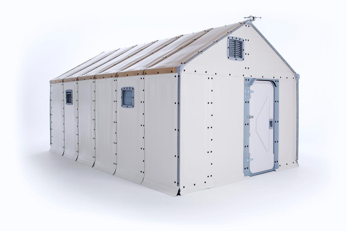 The Better Shelter includes windows, a locking door, and a solar panel on the roof