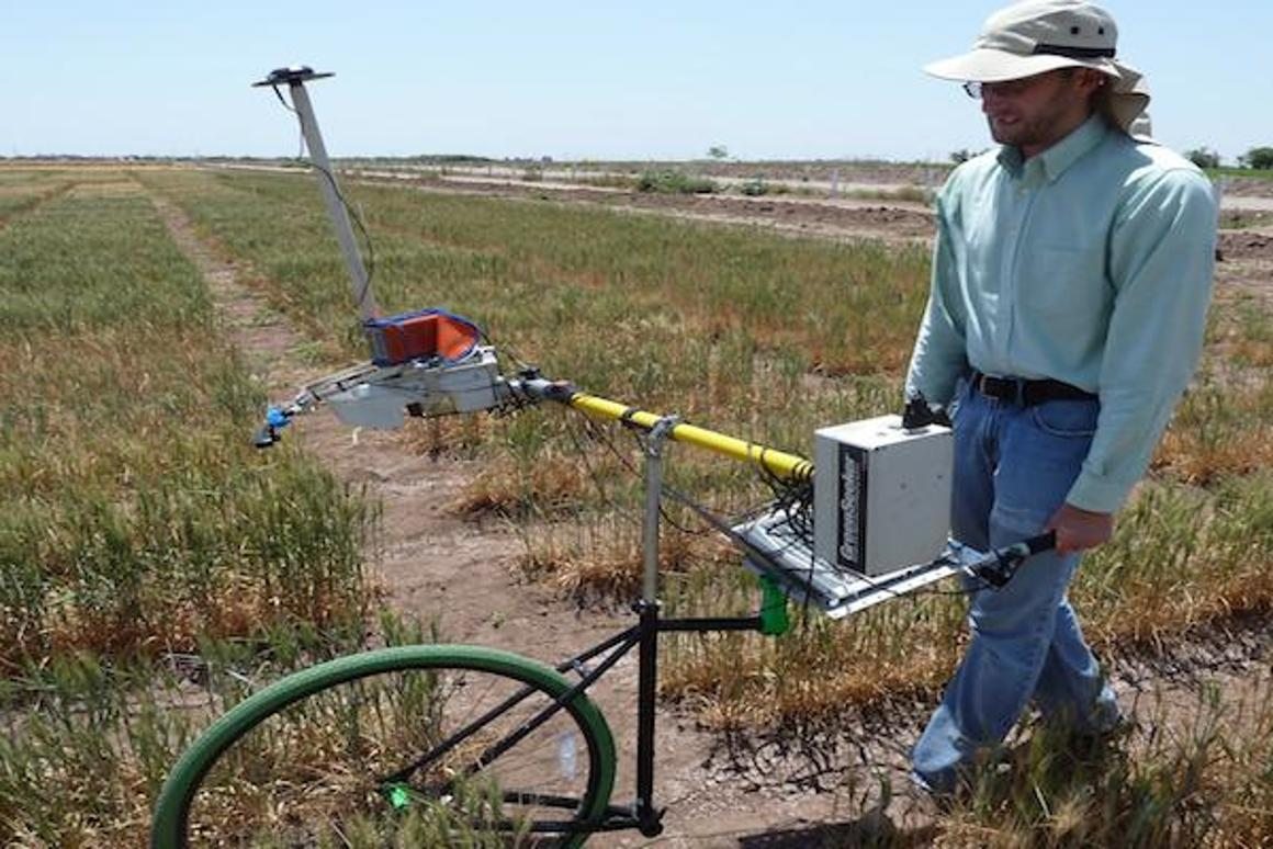 The Phenocart is a tool that farmers can push around to quickly gather data on the health of their plants