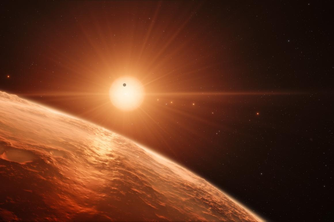 Artists's impression of the TRAPPIST-1 solar system. TRAPPIST-1 now holds the record for the solar system with themost orbiting Earth-sized exoplanets