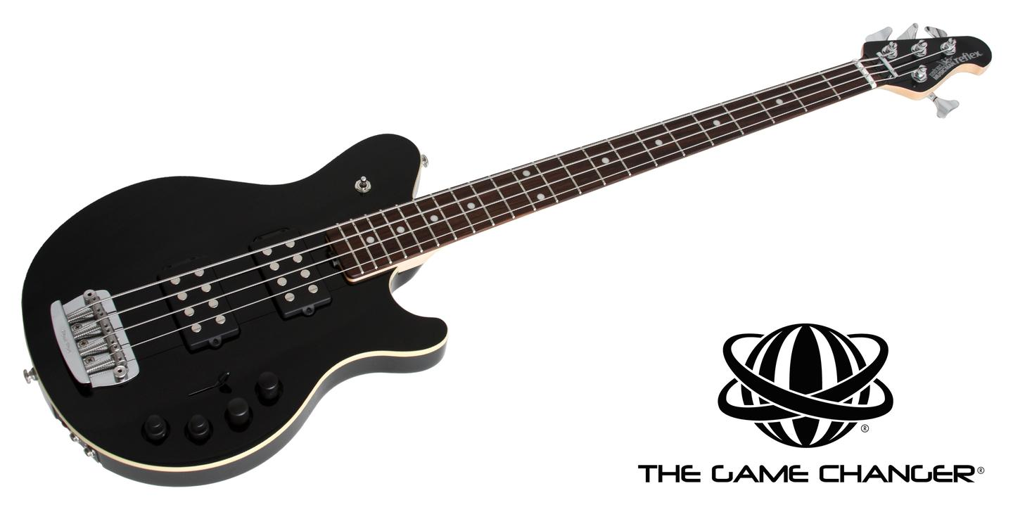 The Game Changer bass is available with twin humbucker pickups and technology that puts millions of tonal variations at a player's disposal