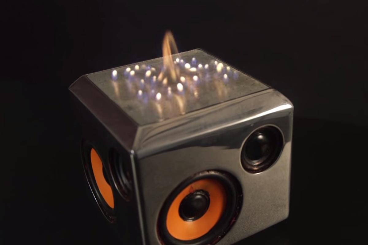 The Sound Torch Bluetooth speaker adds a visual element to your music with the addition of a pyro board