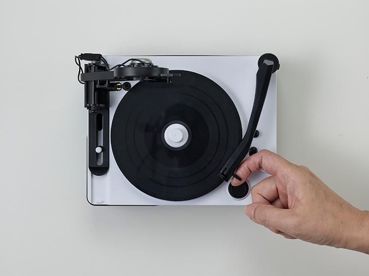 The compact record cutter allows for recording and playback on the same unit