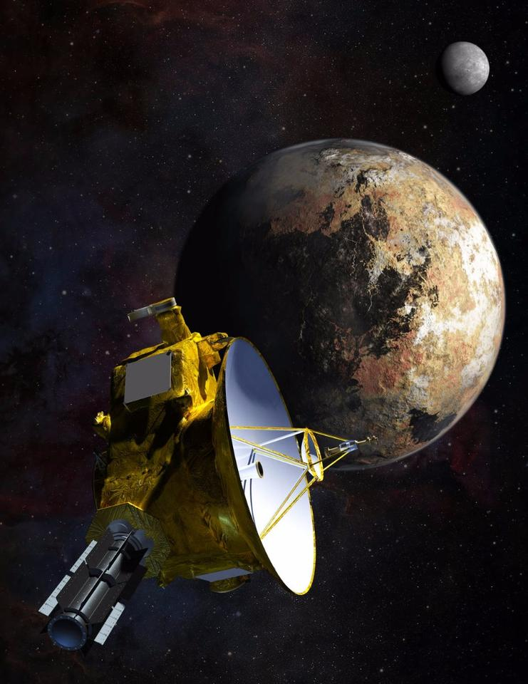 Artist's concept of the New Horizons spacecraft as it approaches Pluto and its largest moon, Charon, in July 2015