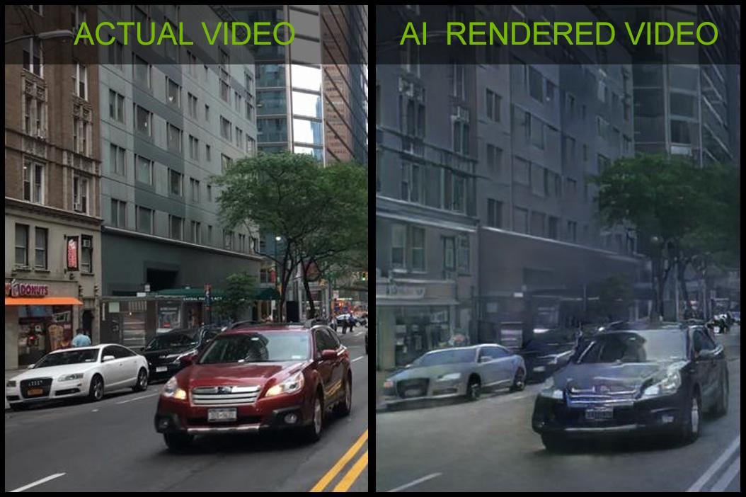 The Nvidia team fed the neural network thousands of Cityscapes videos (left) and it was able to use that knowledge to fill in the blanks of virtual worlds, including details, color, lighting and texture