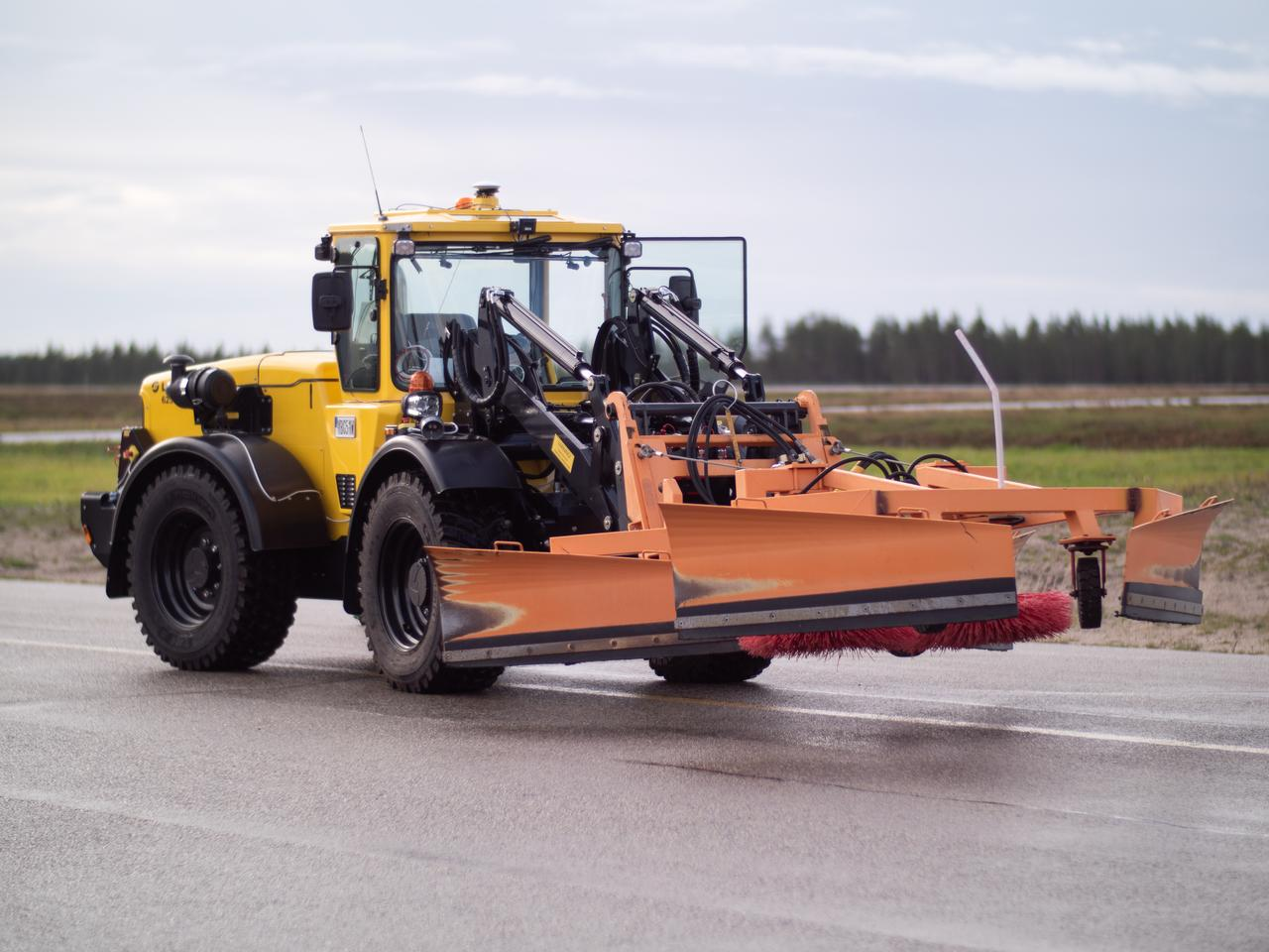 The landing lights scrubber is attached to an automated snow plow