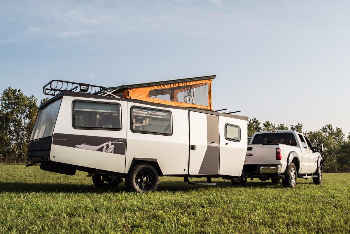 The Mantis is an 18-foot trailer for four adults that can be stored inside a standard garage