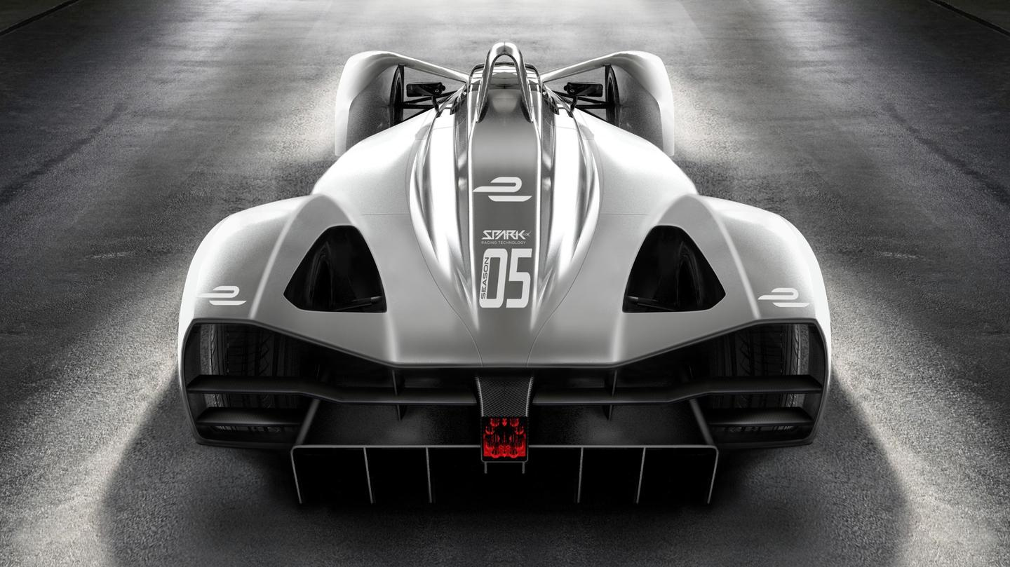Spark's 2018 Formula E electric race car chassis: rear view