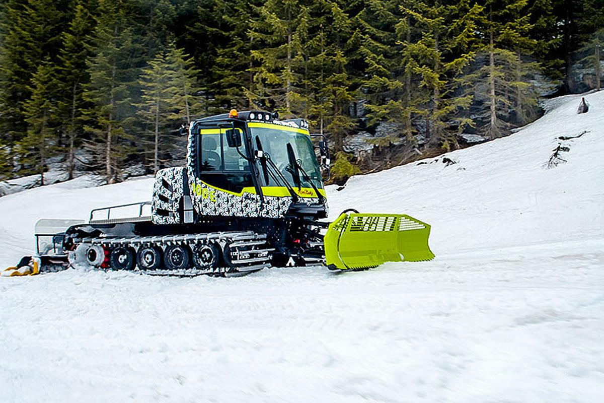 The emission-free PistenBully 100 E snow groomer, undergoing field testing