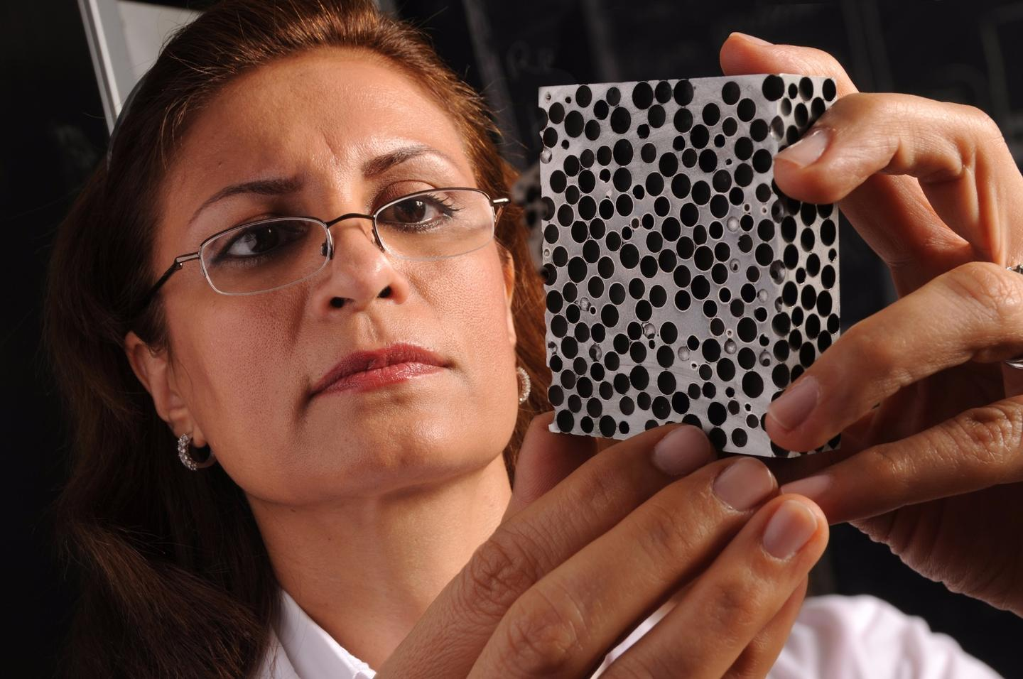Afsaneh Rabiei with one of her composite metal foams
